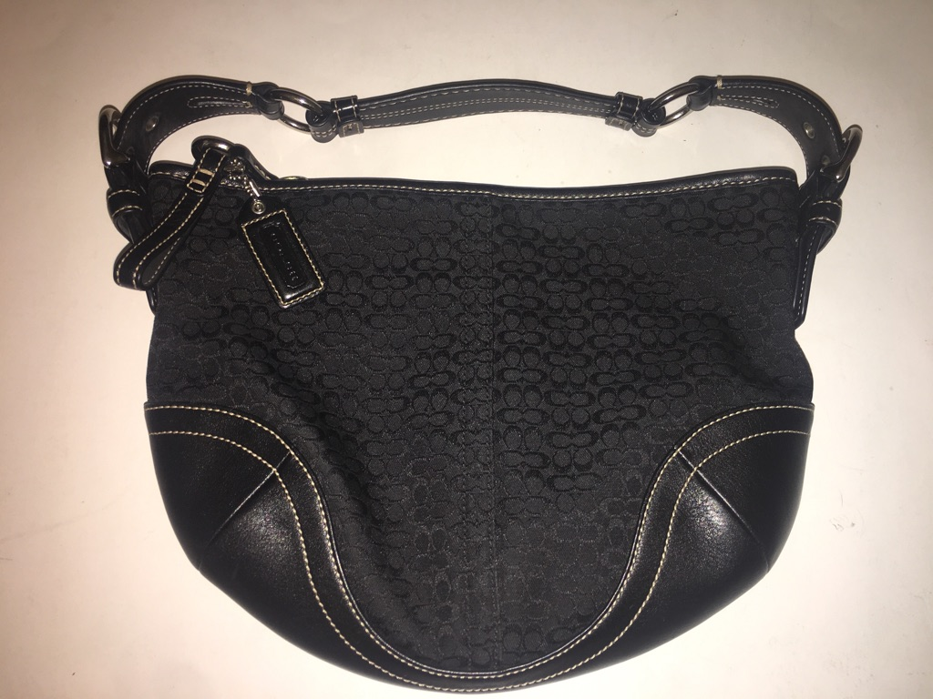 Coach Jacquard Leather Black Small Signature Hobo bag