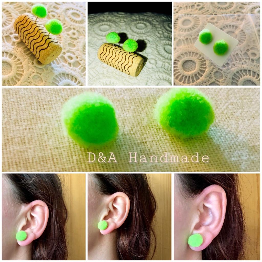 Green 🍏 Colour Handmade 🙌 Earrings Pom Pom
