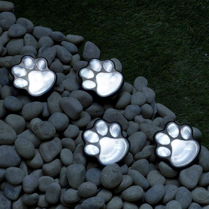 Solar Lights Outdoor Dog Paw Lights (Set of 4) Garden Lights