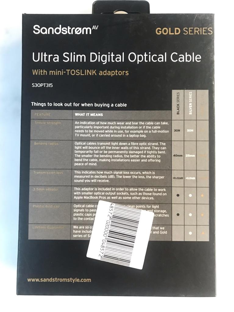SANDSTROM AV Gold Series S3OPT315 Digital Optical Cable