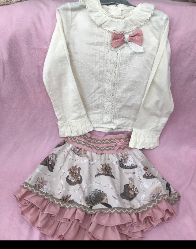 Pink and white skirt and top