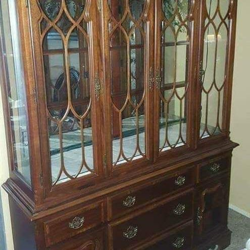 HUGE TUSCANY CHERRY WOOD CHINA HUTCH