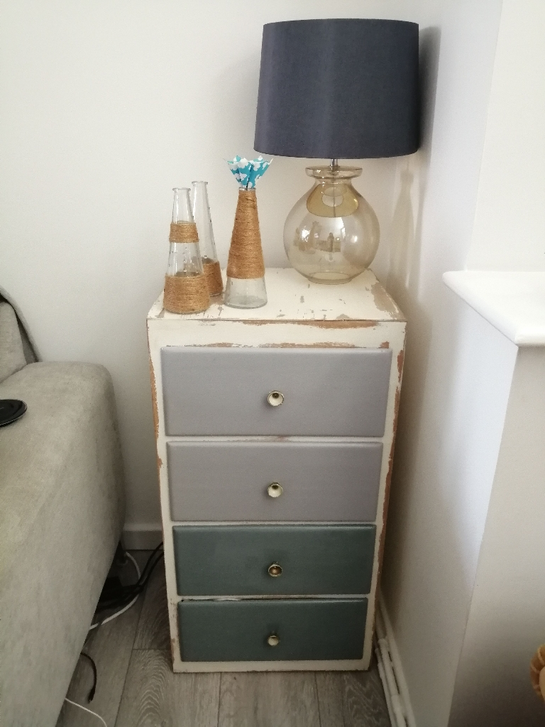 Side table chest of draws shabby chic blue navy white