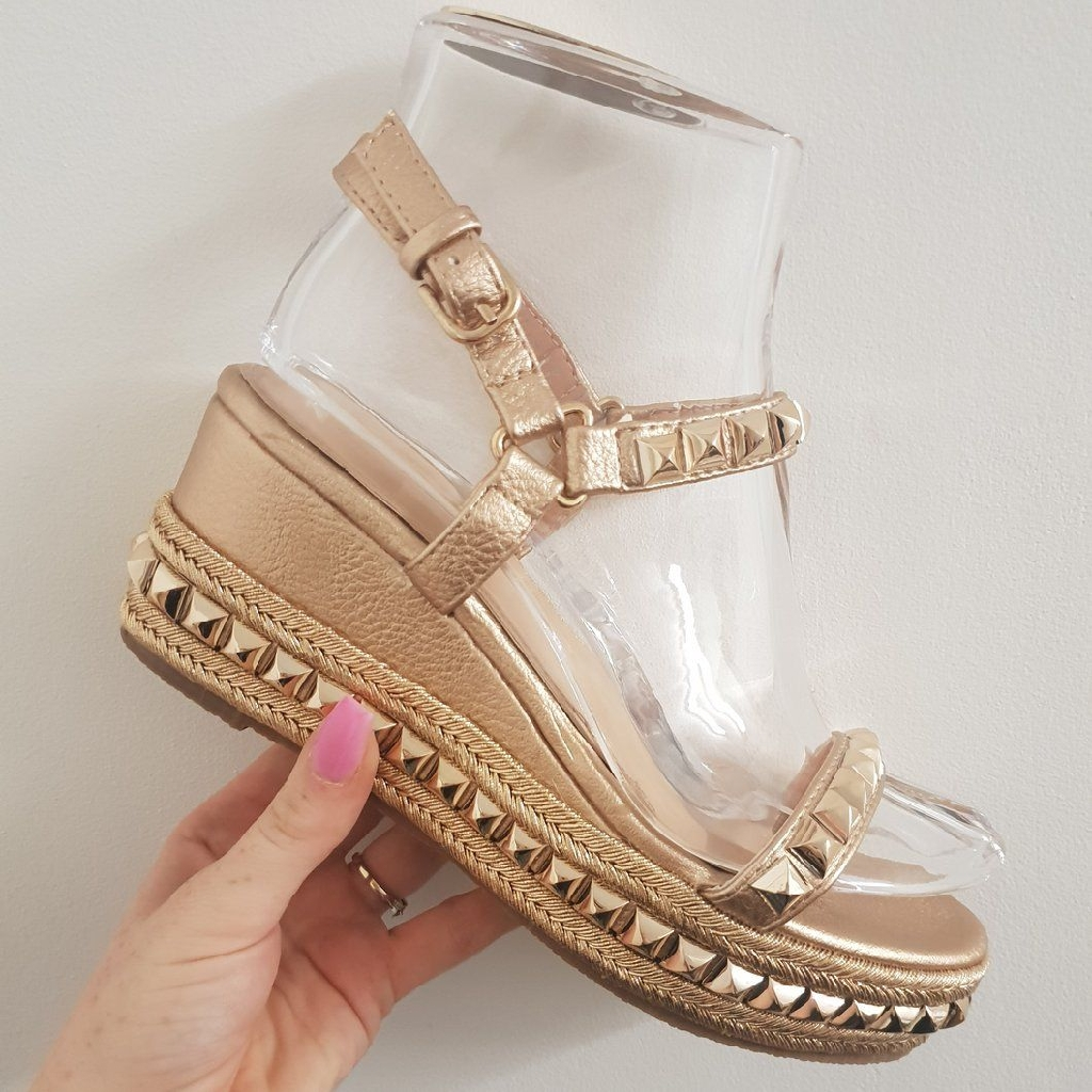 Sophie studded wedges - silver