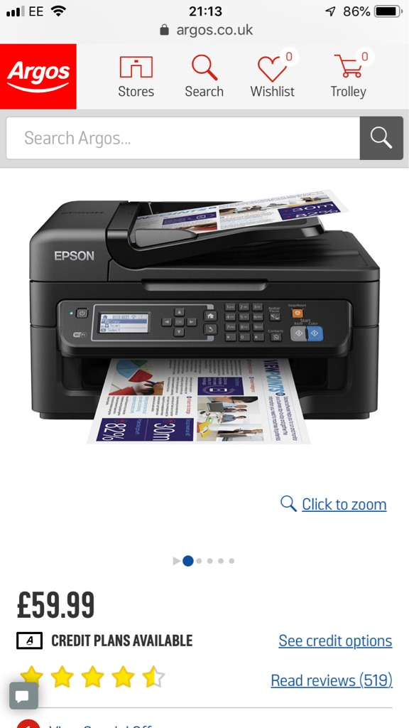 Epson WorkForce WF-2630WF All-in-One Wireless Printer