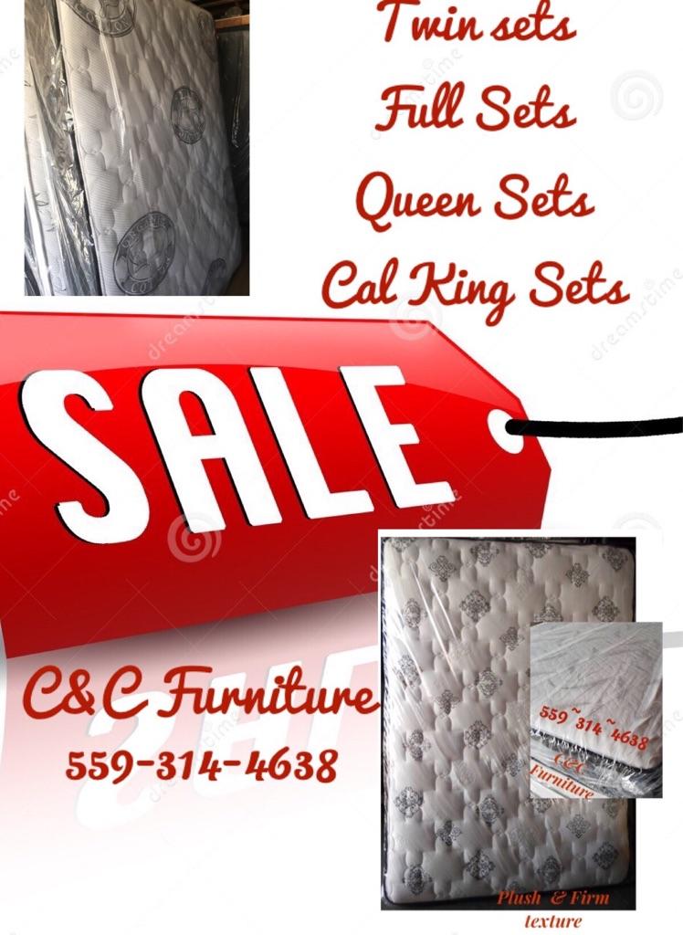 Cal King Plush comfort mattress and box spring