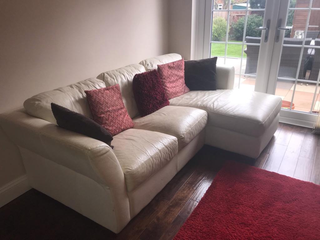 Cream Leather 3 Seater L Shaped Sofa