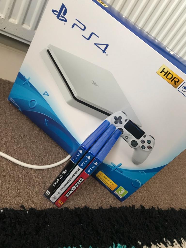 **Boxed** White PS4 Slim W/ 3 games 500GB