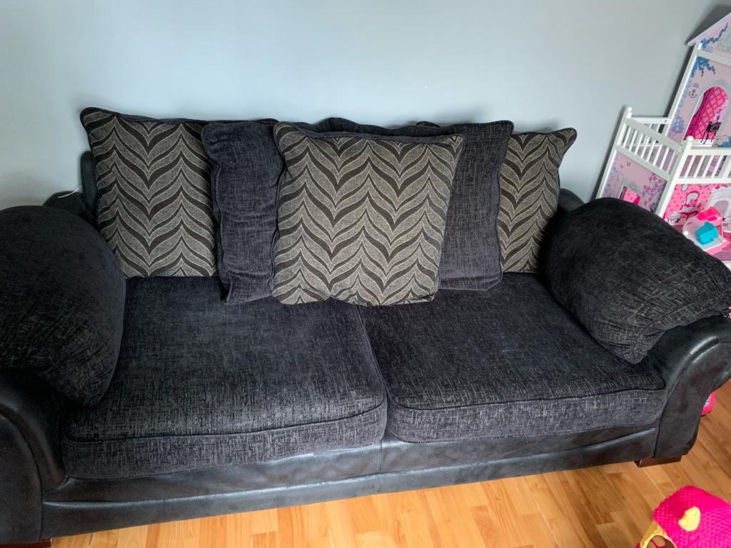 Black leather/fabric 3+2 sofas