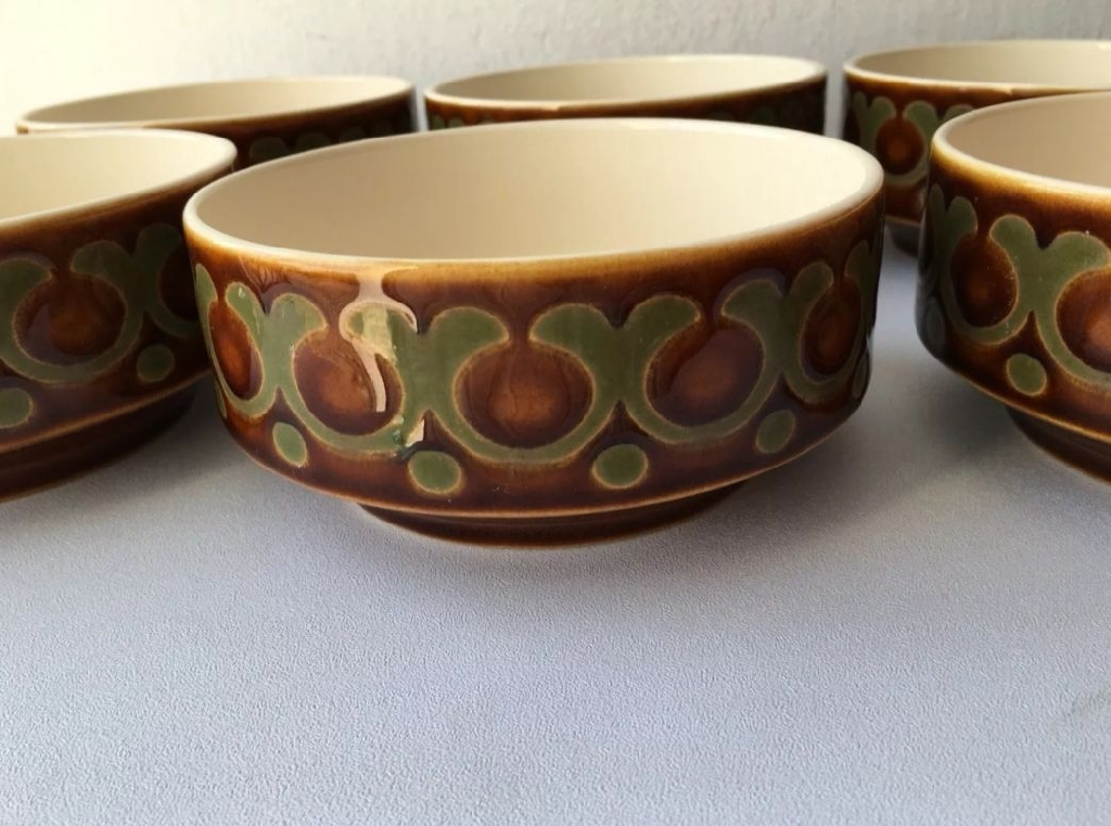 "A set of 6 1970s Vintage Hornsea Pottery ""Bronte"" Pattern."