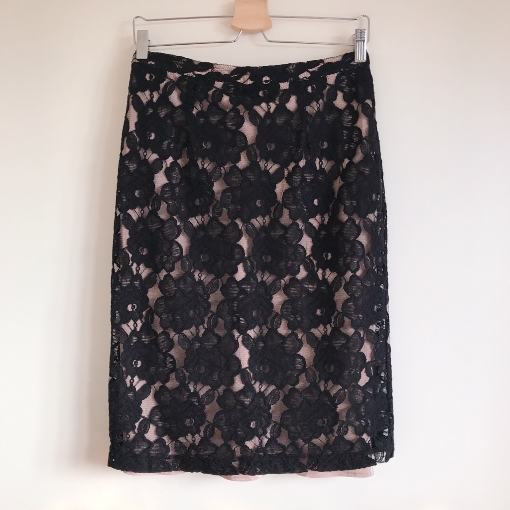 M&S Blush Pink and Black Lace Pencil Skirt
