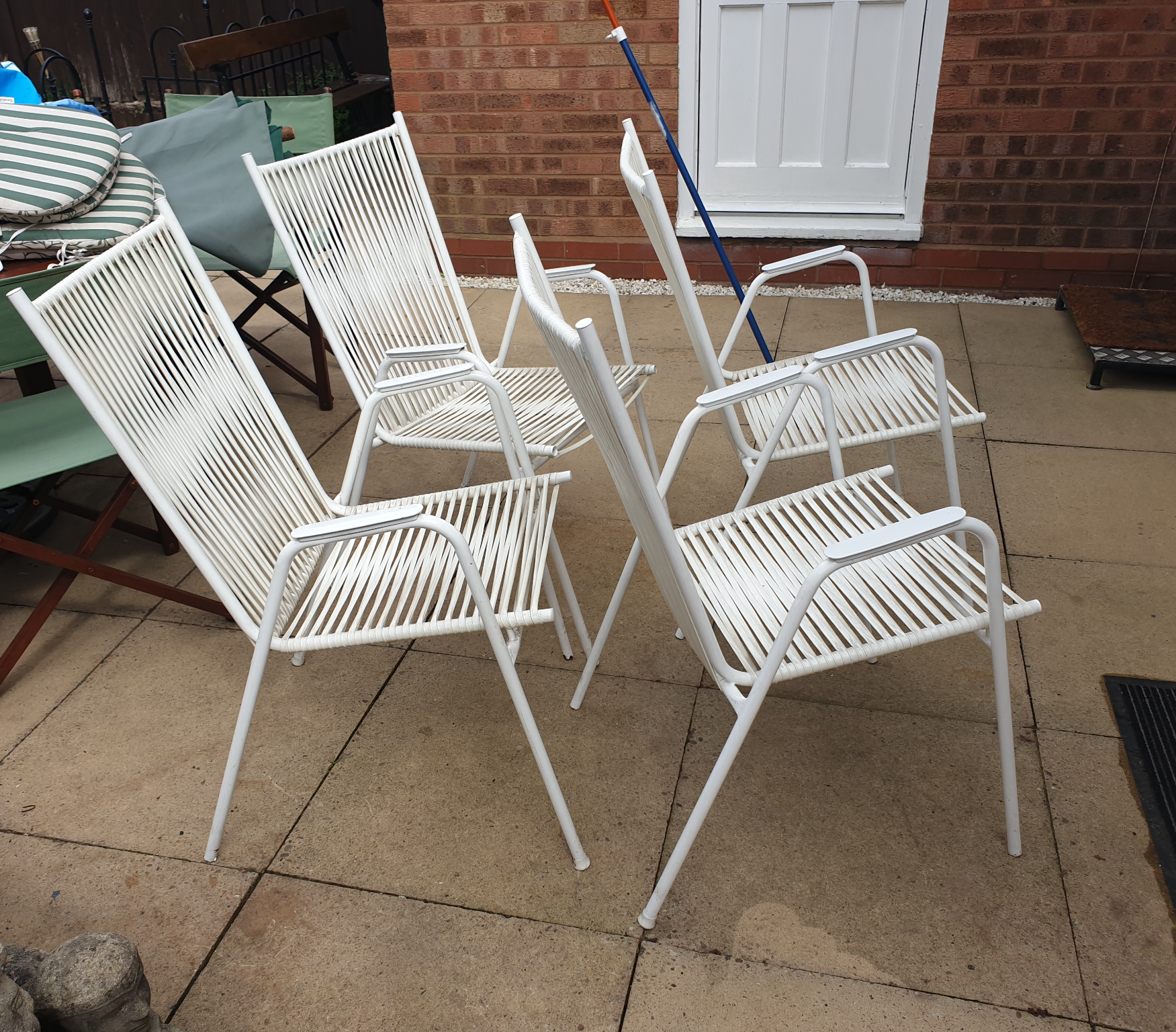 Mid Century Danish Patio Lawn Chairs x 4 off