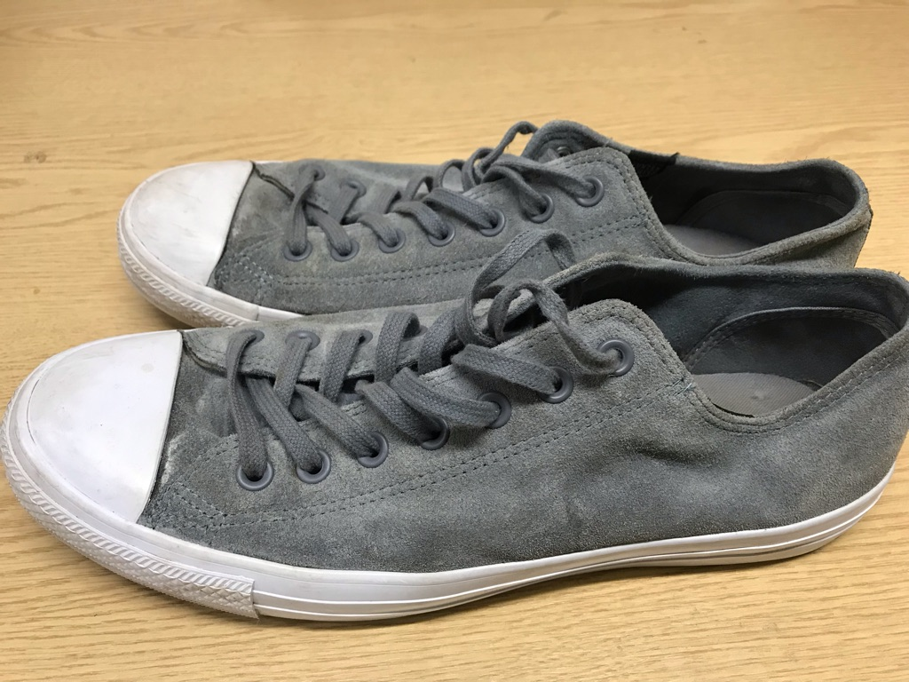 Converse Men's Suede Trainers Shoes UK 10 Grey