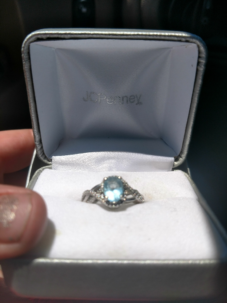 Sterling silver topaz ring, size 8