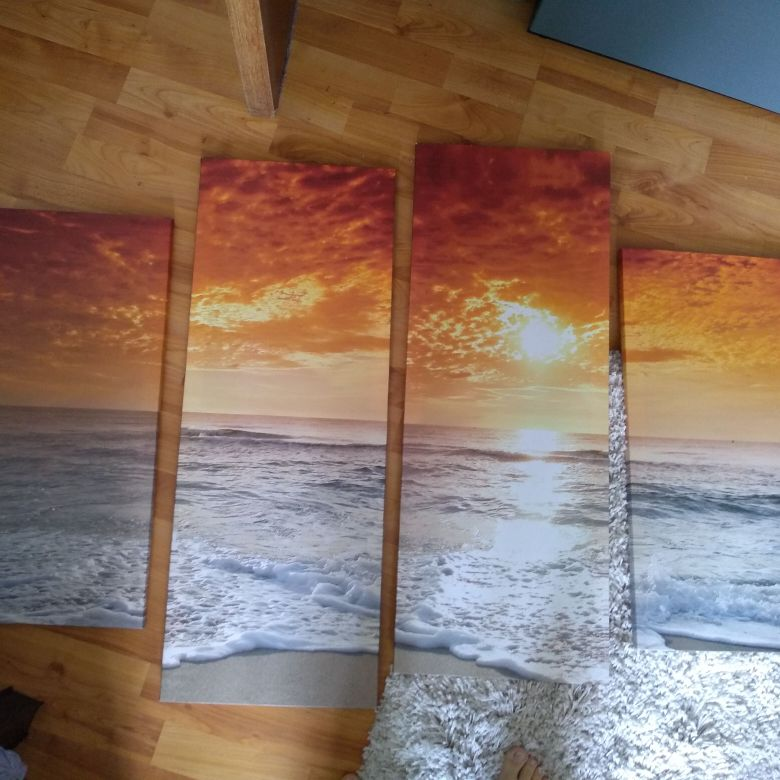 4 peice canvas sunset picture