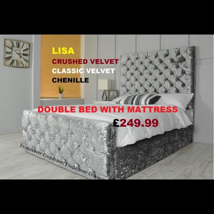 Crushed velvet double bed frame