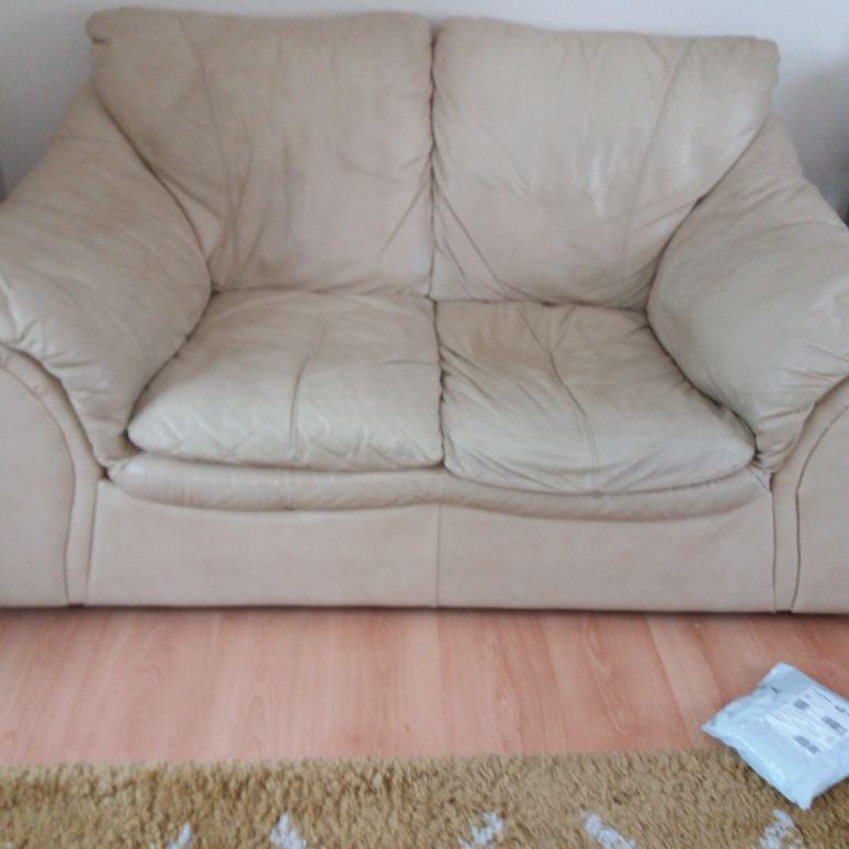 Leather cream 2 Seater cream settee