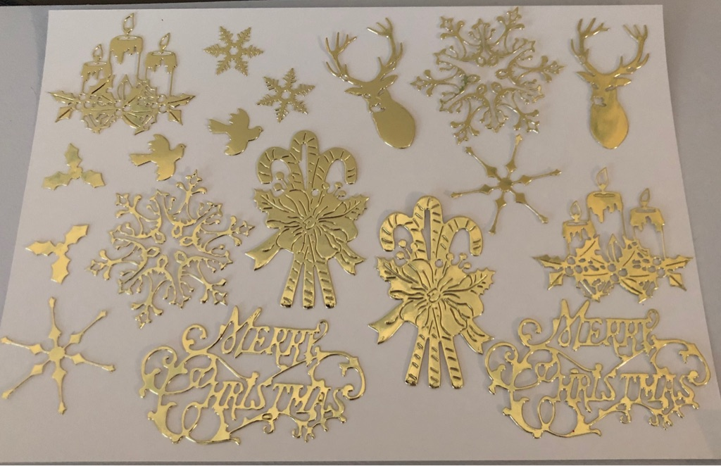 Christmas Die Cut-outs in Gold or Silver for card making, crafts, embellishments (b)