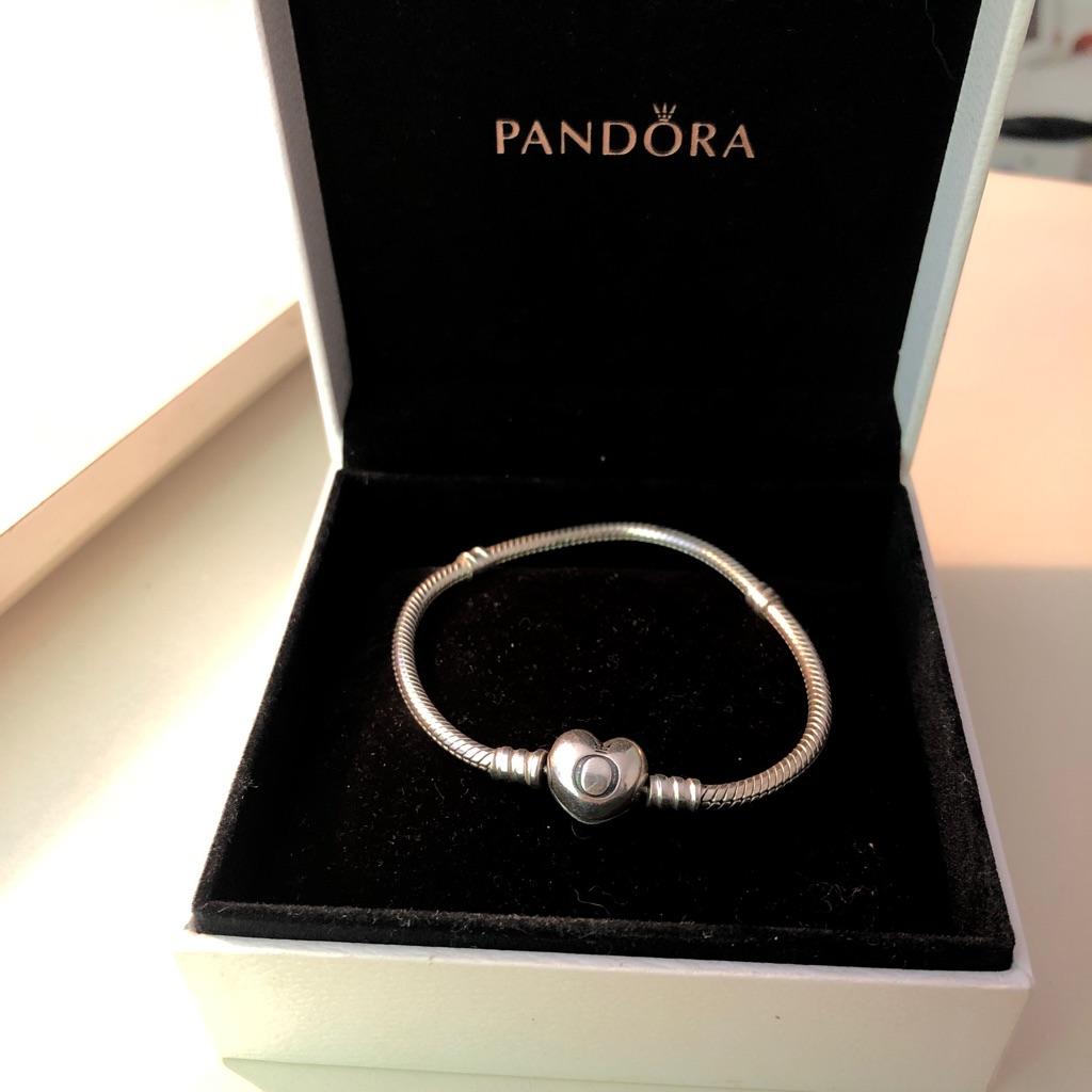 Pandora Silver Bracelet With Heart Clasp