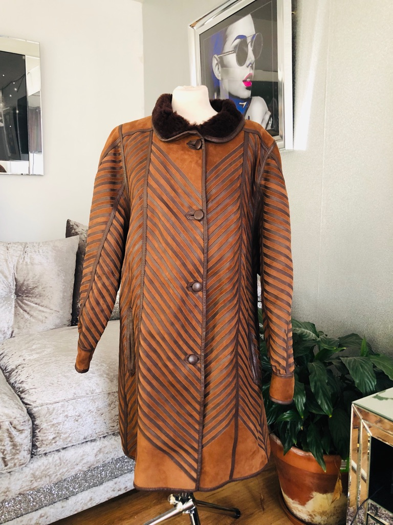 Women's brown vintage suede leather coat size 16/18