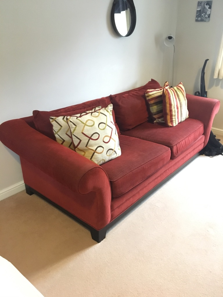 Red 4-Seater Fabric Sofa