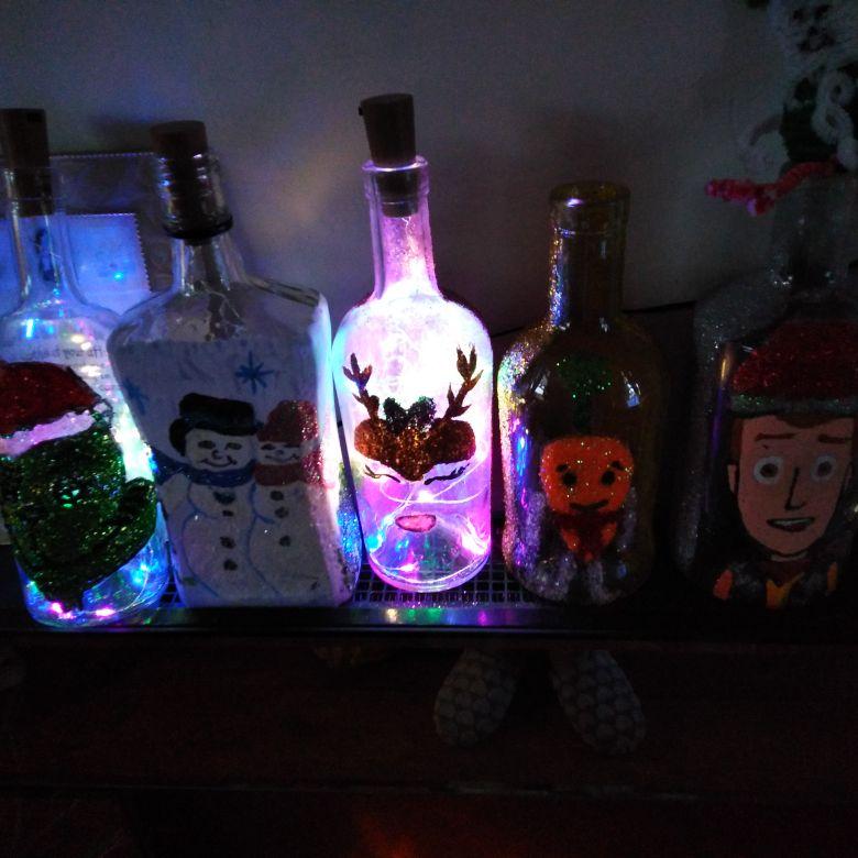 Light up Christmas bottles