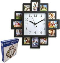 Multi photo family love picture wall clock modern aperture frame