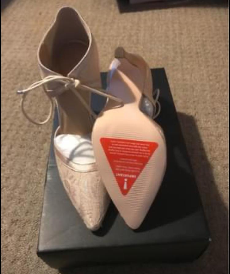 Cream ankle tie shoe