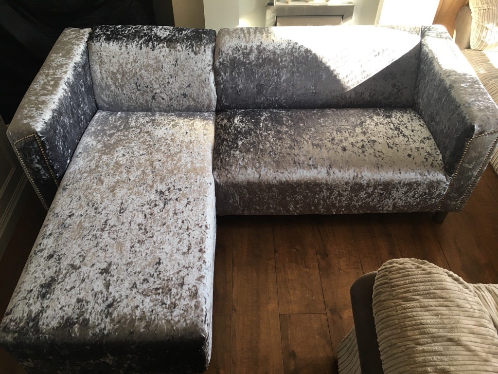 Slate grey crushed velvet L shaped sofa