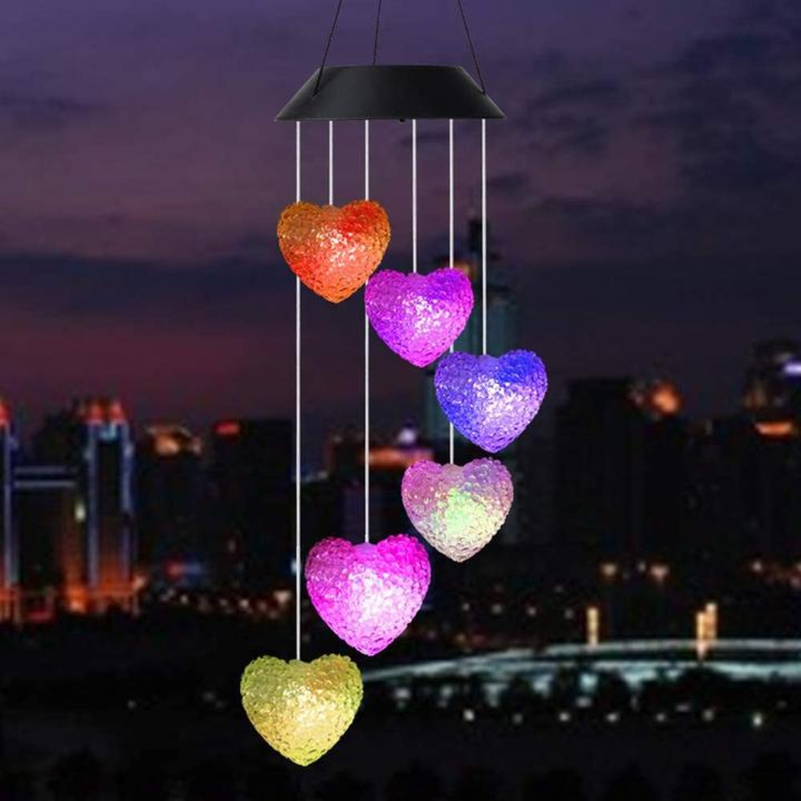 GARDEN OUTDOOR HANGING HEARTS LED SOLAR POWERED WIND CHIMES