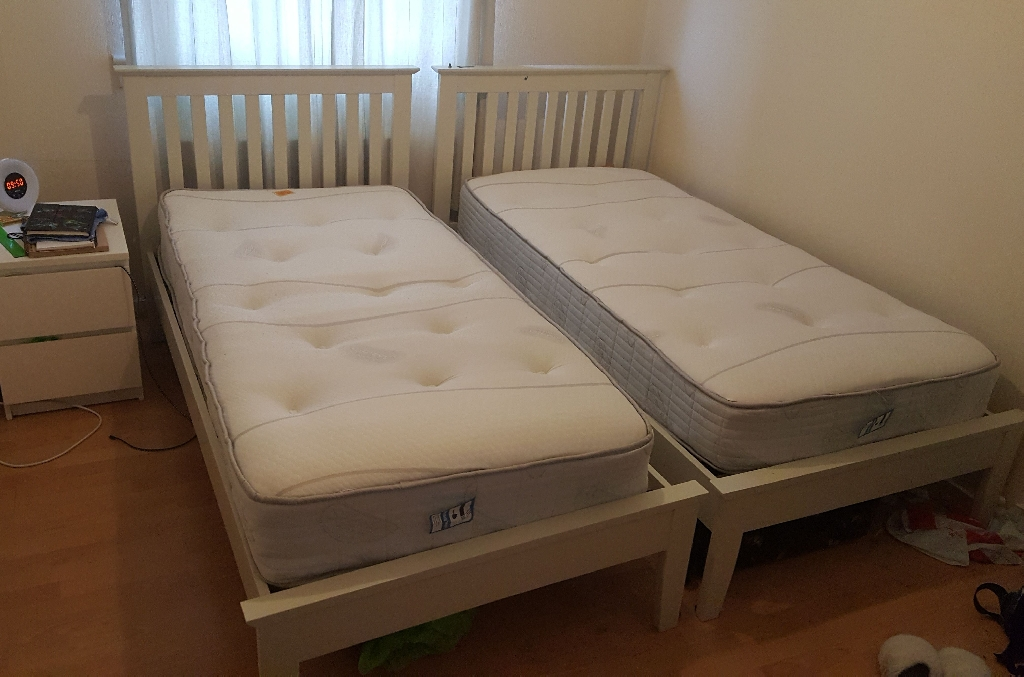 Two beds and mattresses