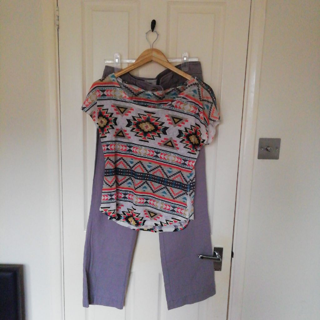 Size 10 linen trousers and tribal print top