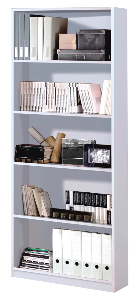 High Shine White Bookcase with 5 Shelves