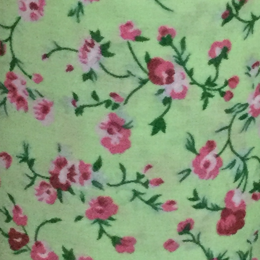 "Fabric ""mint with pink rose"" £2.20 a meter,  over 15 meters in stock"