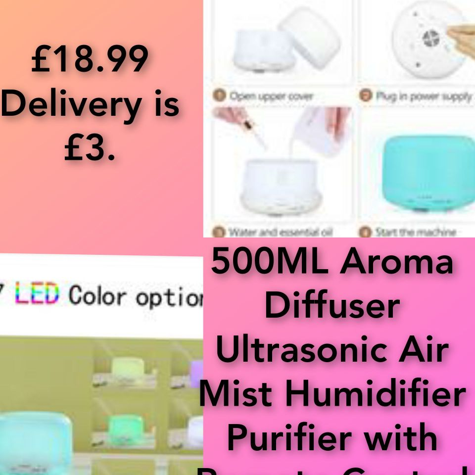 500ML Aroma Diffuser Ultrasonic Air Mist Humidifier Purifier with Remote Control