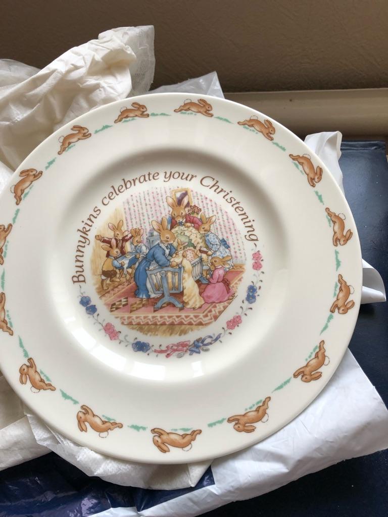 Bunnykins christening plate
