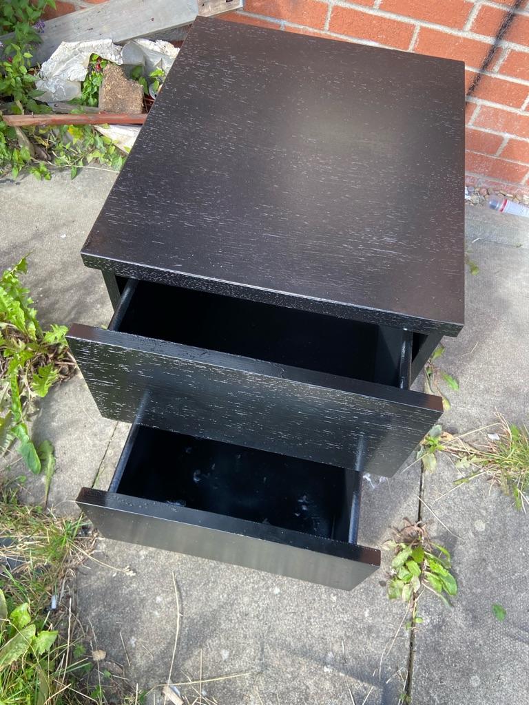 Black bedside drawers