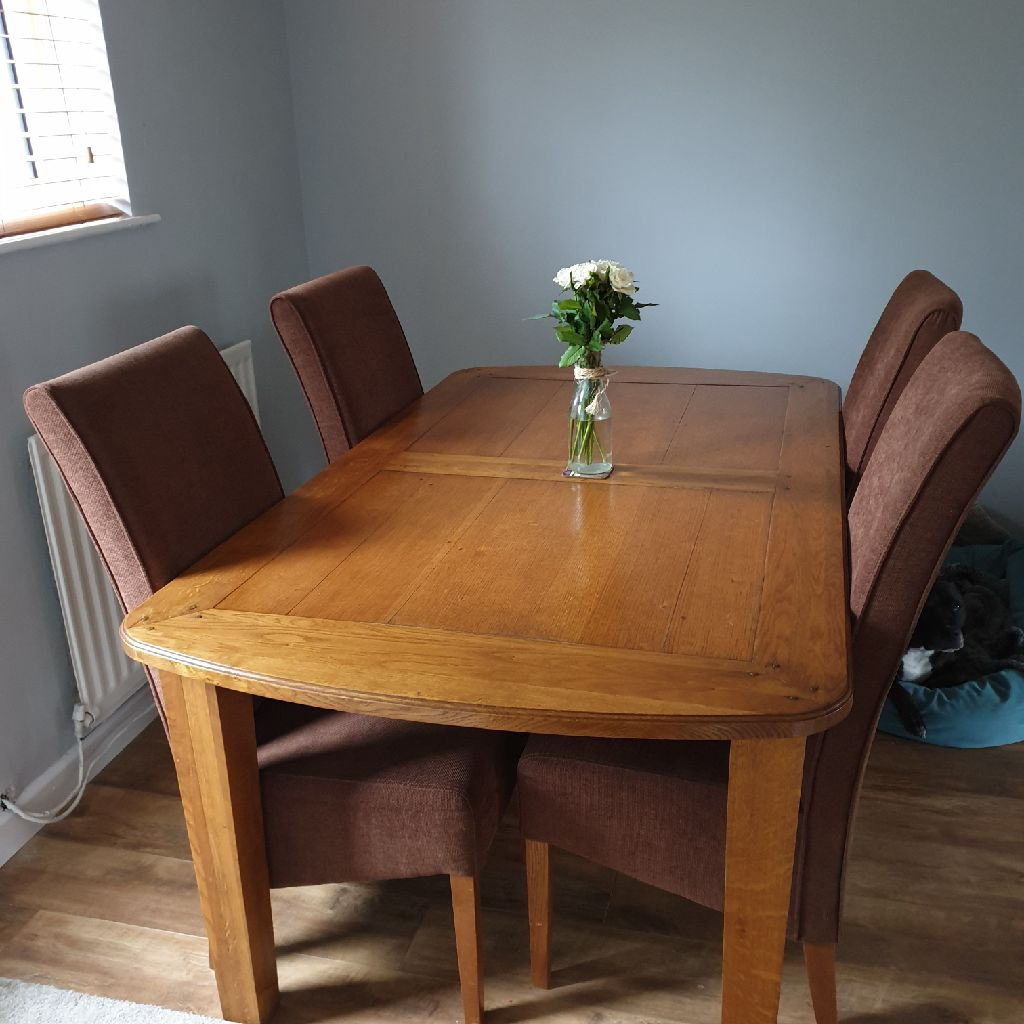 Furniture Village Rustic Oak dining table and 6 chairs