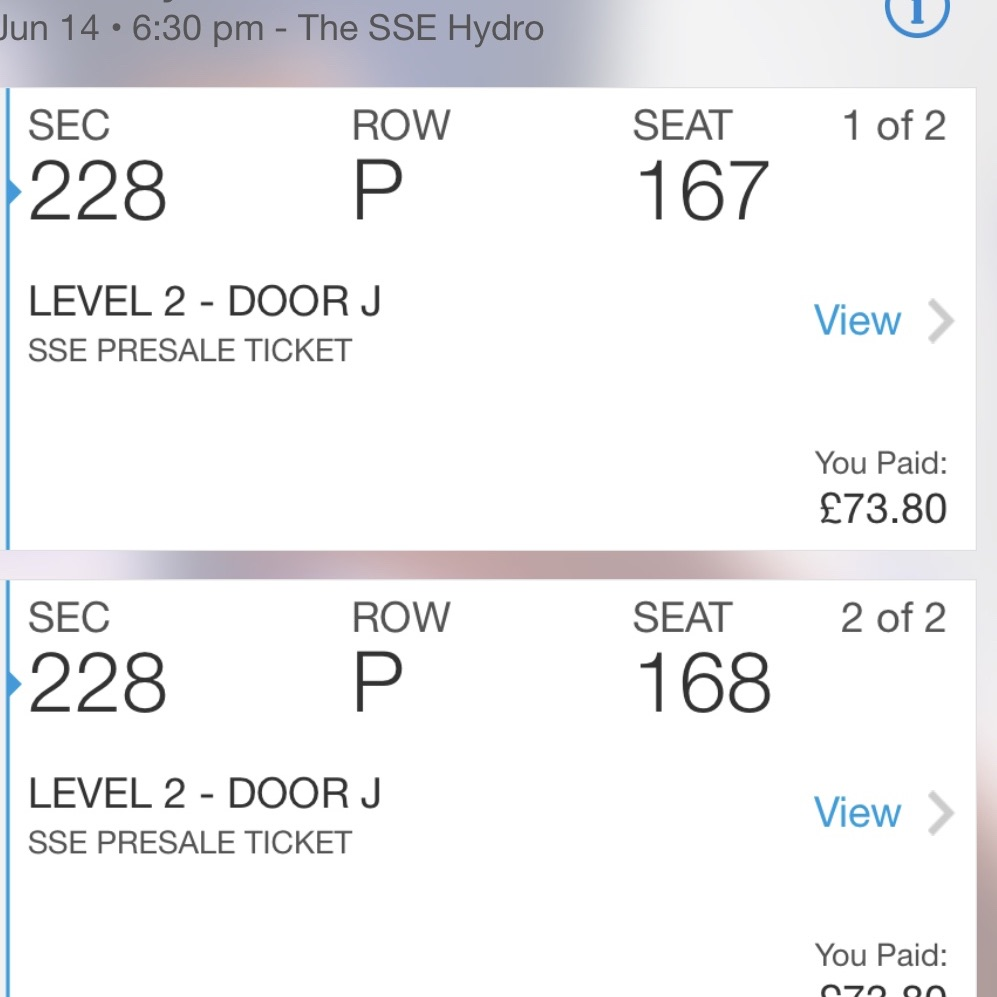 2 Backstreet Boys Tickets SSE Hydro 14/06/2019