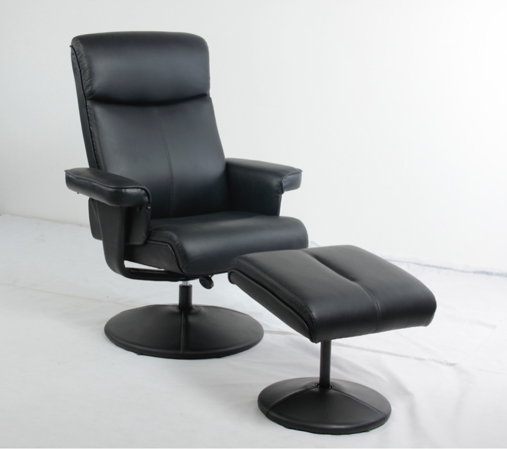 PU & PVC Recliner with Footstool Black, Brown or Cream