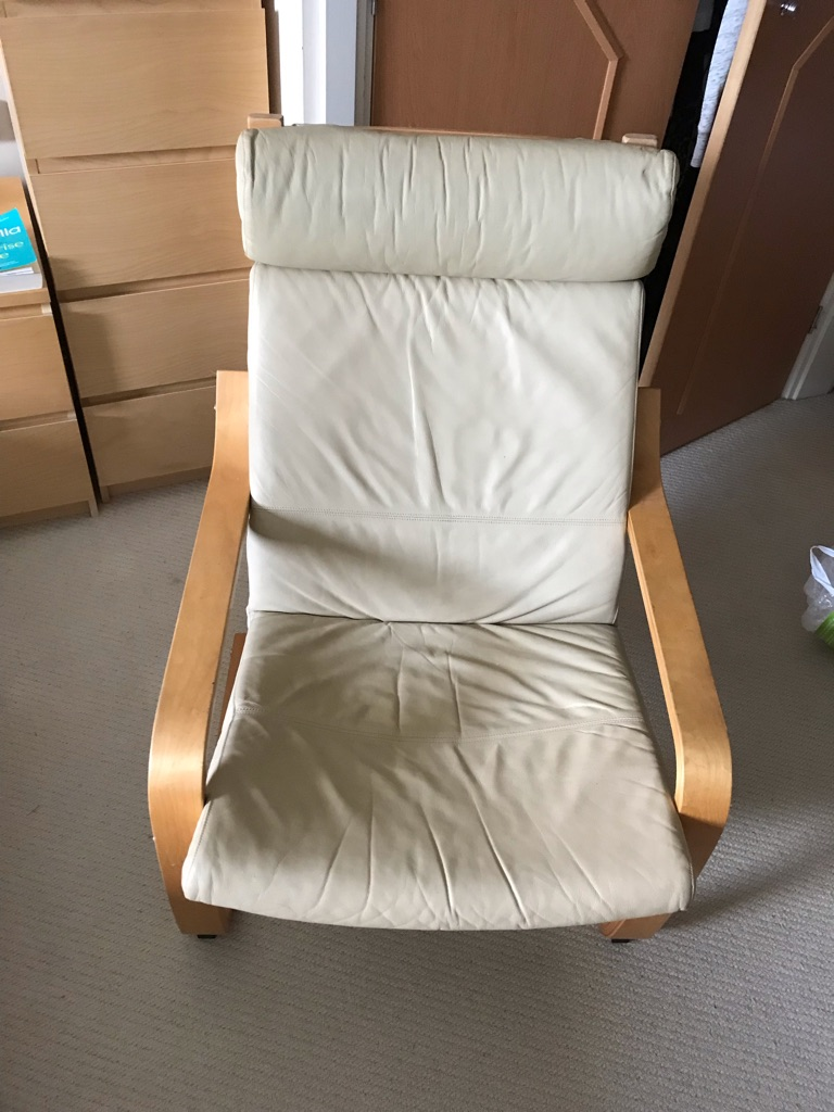 MUST GO BY WEDNESDAY- cream leather IKEA armchair
