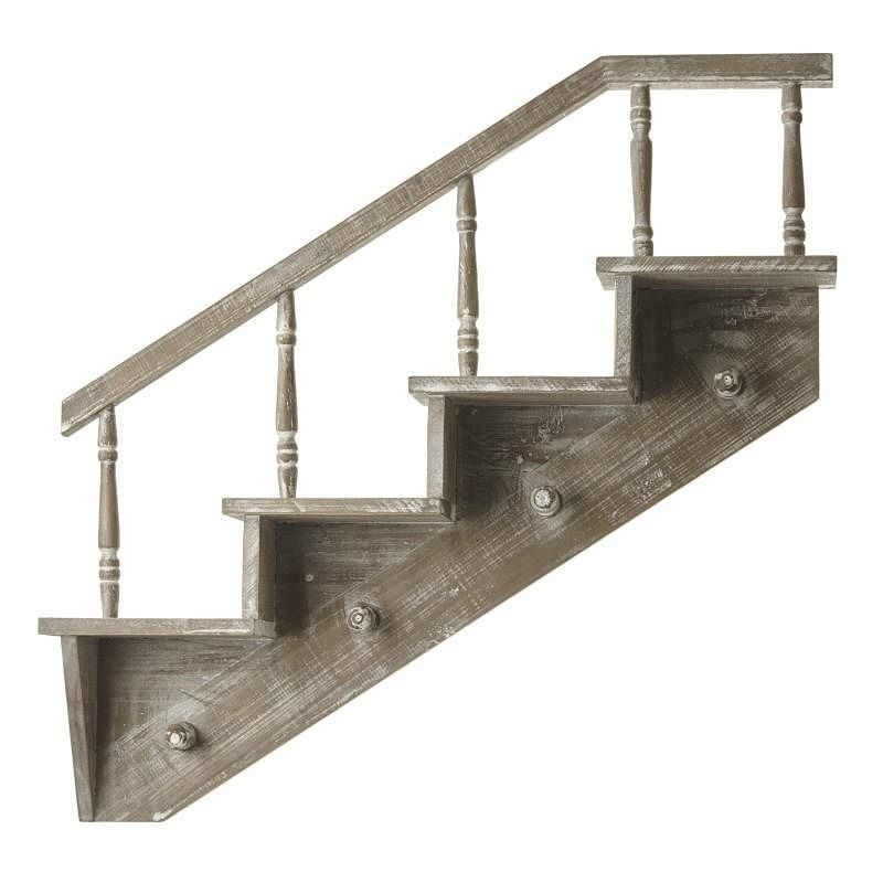 Wooden Wall Staircase Shelf With Hooks