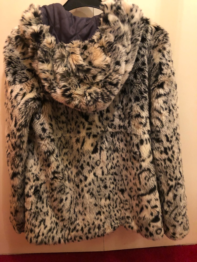 River island faux fur coat size 10