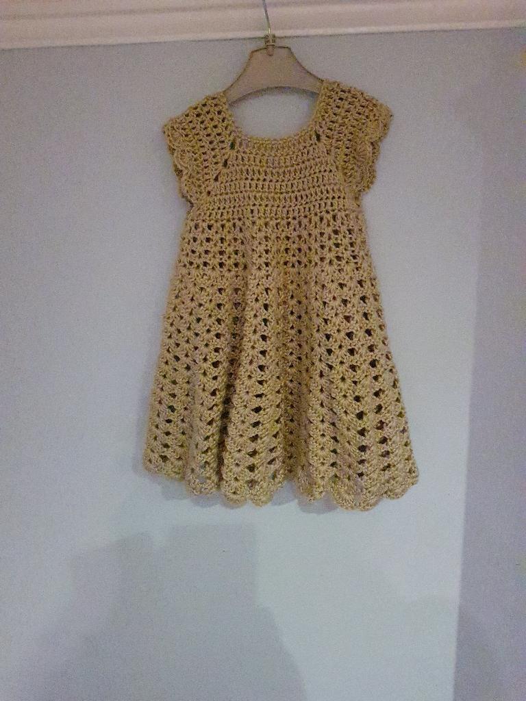 Handmade crochet dress 18-24 months and headband
