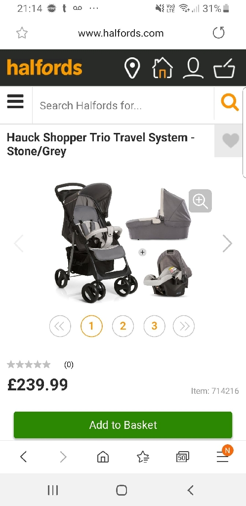 Hauck 3 in 1 travel system..Brand new never used