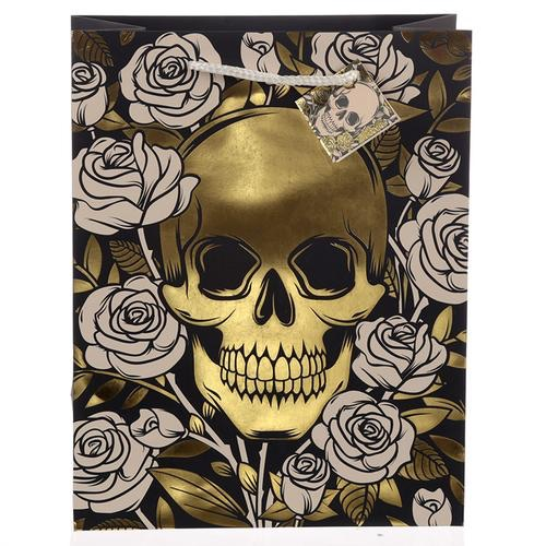 Skulls and roses metalic large gift bag