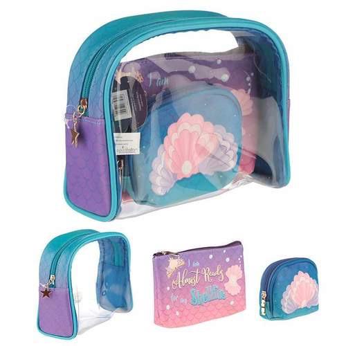 Mermaid slogan vanity bag set of 3