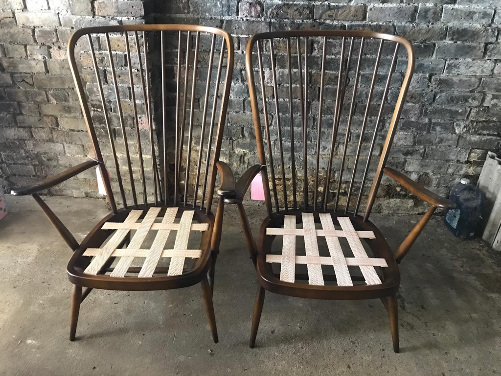 Pair of Ercol The Windsor 478 Tall Back Chairs Genuine Vintage