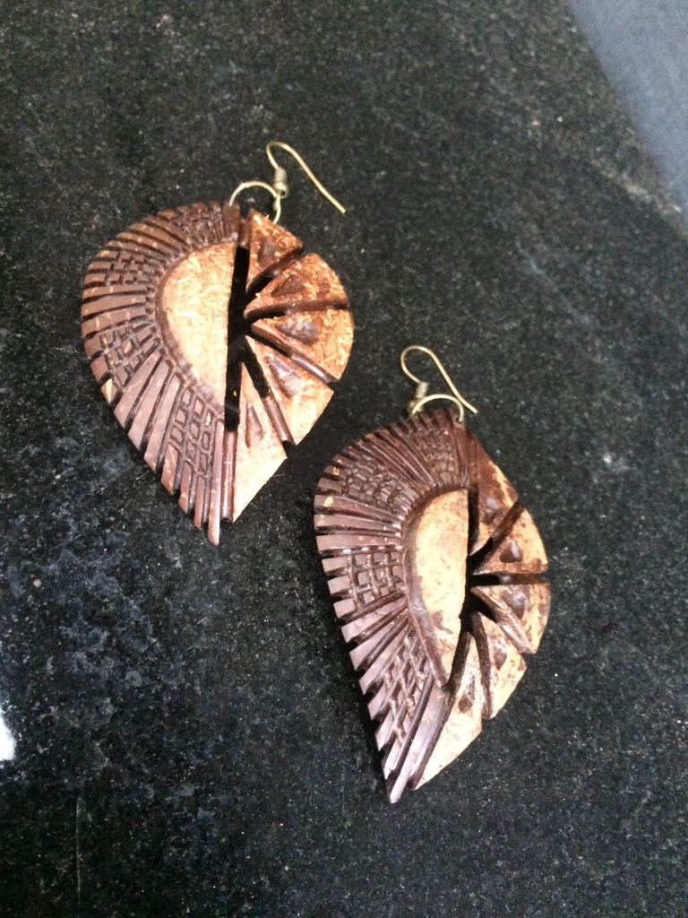 Handcarved coconut earrings