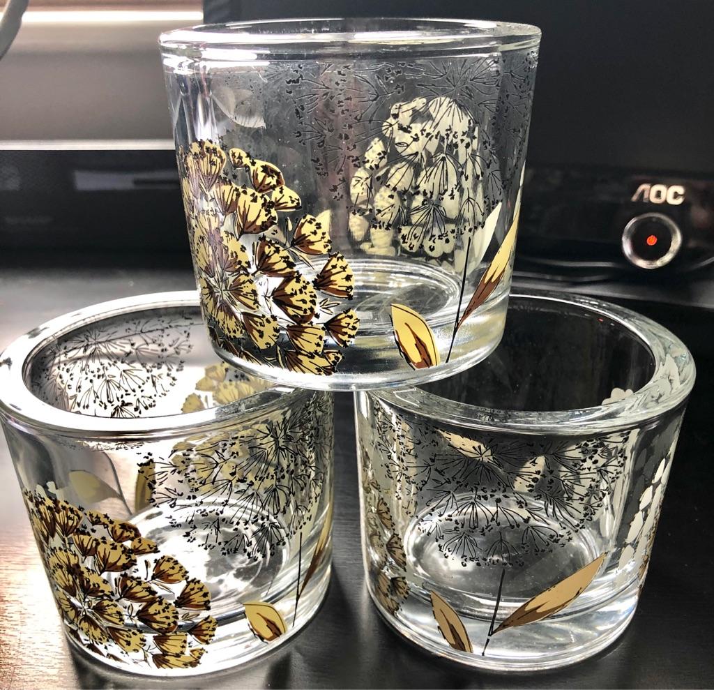 SET OF THREE GLASS ORNAMENTS